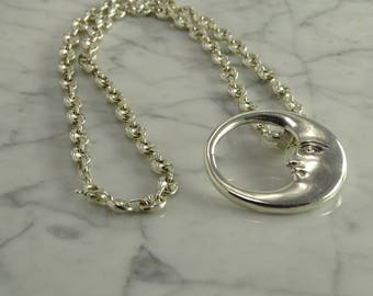 "Sterling Silver Moon Necklace (20"")"