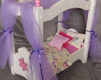 Doll Canopy Bed fits  American girl dolls and 18 inch dolls with adorable Owl bedding