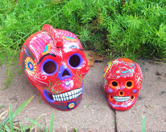 MOHAWK Sugar Skull SET of 2! Vintage Red floral and bird design Decor Pagan Wiccan Altar Day of the Dead