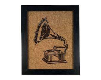 Phonograph Vintage Record Player   Cork Art