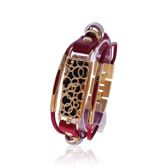 Xmas Offer -  Bracelet SOMA - Fitbit Flex Jewelry - Red/Gold - made from stainless steel and leather