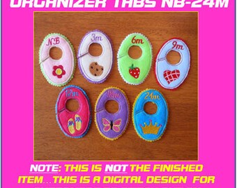 In The hoop Baby Girl Closet Organizer Tab Designs for Embroidery Machines