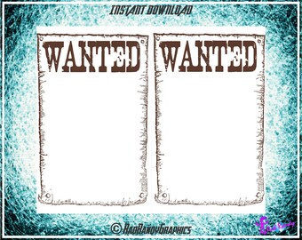 Wanted Poster, Printable Note Pad Stationary, PDF, Instant Download