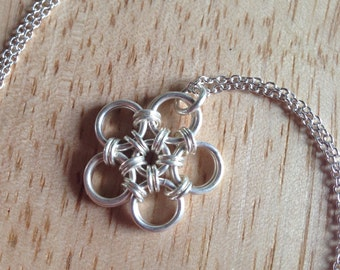 Silver Flower Necklace - Chainmaille, Japanese Weave