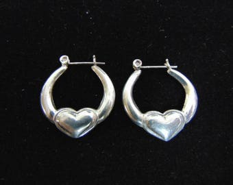 Pr Vintage Estate .925 Sterling Silver Dangle Hoop Heart Earrings, 5.4g E3642