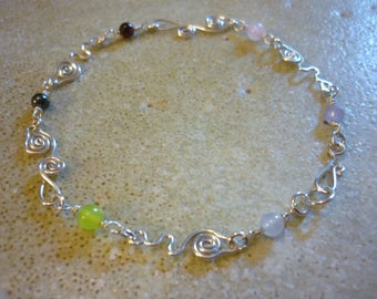 Bracelet Fairy Chain Sterling Silver Gemstone SquareHare Vegan Free postage worldwide Celtic Druid UK wedding Bridesmaids druids