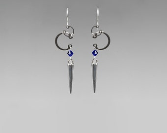 Swarovski Crystal Earrings With Silver Spikes, Industrial Earrings, Cobalt Swarovski Crystal, Modern Jewelry, Wire Wrapped, Amalthea II v5