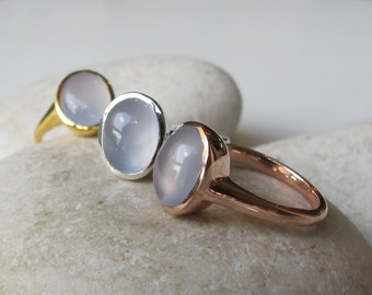 Oval Blue Chalcedony Ring- Solitaire Blue Gemstone Ring- Simple Blue Stone Ring- Rose Gold Ring- Cabochon Smooth Stone Ring- Something Blue