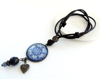 Mandala Necklace Tile Necklace Portuguese Jewelry PORTUGUESE MANDALA Jewelry Boho Necklace Boho Jewelry Blue Inspirational Jewelry Gift