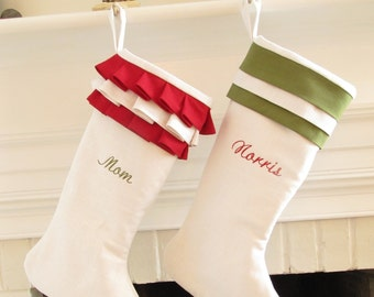 Personalized Christmas Stockings Linen Pair White Green Red Monogram Wedding Gift