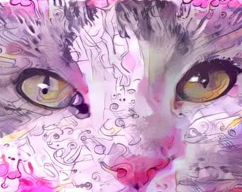 ATC ACEO The Eyes Have It! Pink Ct Kitty Art Card
