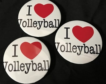 """3"""" I Love Volleyball buttons"""