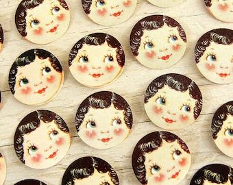 Vintage Die Cut Seals Love | Valentine Doll Face Heart Cheeks | Valentine Labels | Brunette Girl Die Cute Seals | Side Eye
