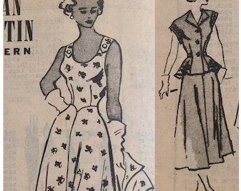 "Vintage 1950s Marian Martin Sundress and Short Sleeve Jacket Pattern T9469 Size 12 (30"" Bust) XXS"