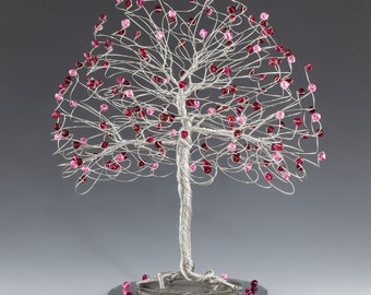 Tree Cake Topper with Swarovski Crystal Elements Rose Ruby Siam on Silver Gold or Copper Tone Wire Pink and Red