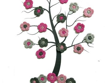 Crochet flower appliques, 24 pc., tiny flowers, 1 inch, pink gray mix, small patches, scrapbooking embellishment