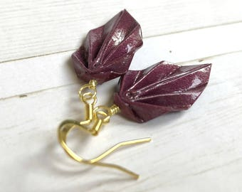 Origami Leaf Earrings // Deep Purple Shimmer