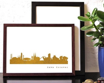 """Gold EINDHOVEN Poster, EINDHOVEN City Skyline, Eindhoven""""love forever"""", gift Eindhoven trip, modern Eindhoven artwork, hygge gold artprint"""