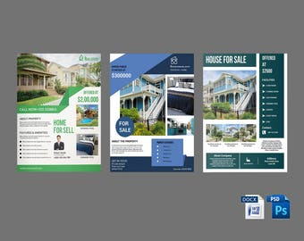 Real Estate Flyer Template , Real Estate Flyer bundle, Relator Flyer  Photoshop and Ms Word Template | Instante Download