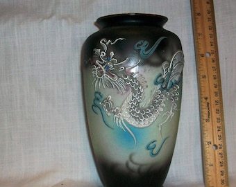 "Listing 082 is an 7.75"" H Japanese Dragon vase"