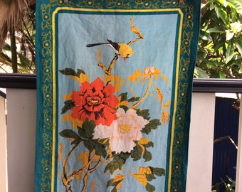 Vintage bird and floral linen teatowel