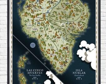 Isla nublar map etsy jurassic park isla nublar a1 poster gumiabroncs Image collections