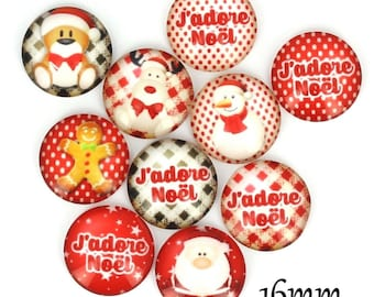 Set of 10 16mm glass cabochons, fairy tale, Christmas, ZC93