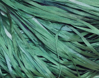 Teal Green Hand Dyed Silk Ribbons