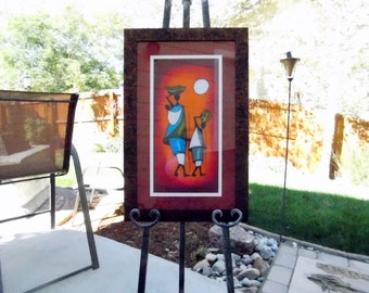 African - Native - Village - Mother and Daughter - Water Basket - Vibrant Colors - Framed with Glass and Ready to Hang - Signed