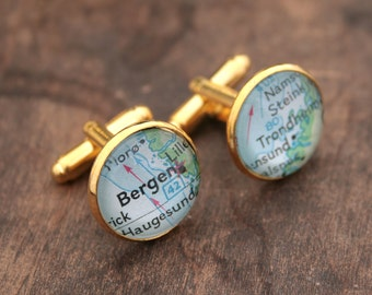Rush Gifts Custom Map Location Gold Cuff link Personalized Wedding Anniversary Gifts for Men Cufflink Map Custom Gold Cufflinks