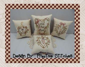 Love You More Mini Collection-Primitive Stitchery  E-PATTERN by Primitive Stitches-Instant Download