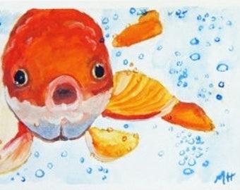 Bubbles Goldfish ACEO Original Painting