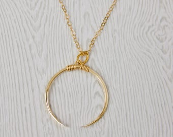 gold filled open circle necklace