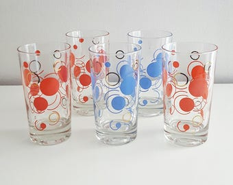 Mid Century Dots and Swirls drinking glasses - Red and Blue with Gold accents - Set of 5