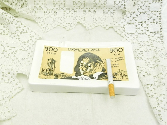Vintage French Ceramic Ashtray Shaped as a Five Hundred Francs Note Ceramic Ashtray, Retro French Smoking Numismatics Collectible, Quirky