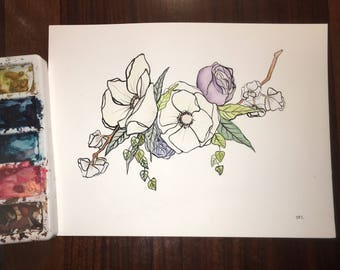 Magnolia Flowers - Watercolor  - Original