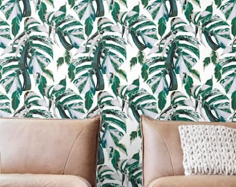 Marble monstera Wallpaper, Removable Wallpaper, Self-adhesive Wallpaper, Leaf Wall Décor, Botanical Wallcovering - JW119