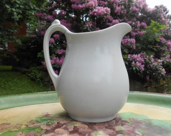 White Ironstone Creamer Small Pitcher Vase Antique English Warranted Royal Ironstone China Mellor, Taylor, and Co Burslem England 1880-1904