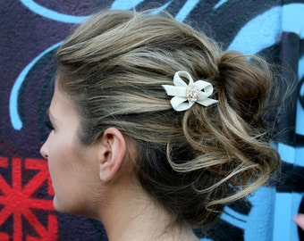 Bridal Hair Cream Barrette With Swarovski Crystals And Velvet Ribbon