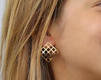 Geometric gold earrings, Square stud earrings, Geometric jewelry, big stud earrings, Light weight earrings, hollow net design