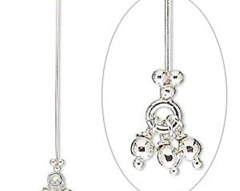 Sterling Silver Headpin, 1.5 in, 3-ball dangle, 23 gauge