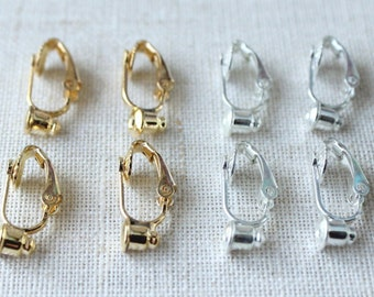 Clip on earring convertor, Convert Stud earrings to clip earrings, choose silver or gold, no tools necessary, nickel free earring adapter