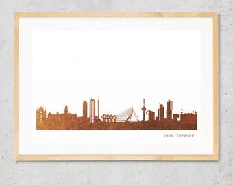 "ROTTERDAM ""Love Forever"" Honeymoon Poster, copper foil ROTTERDAM skyline, unique art print, Rotterdam decor, Housewarming, Rotterdam gift"