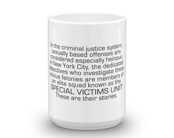 Law and Order SVU Mug Special Victims Unit Intro Coffee Mug 11 oz / 15 oz Olivia Benson Elliot Stabler