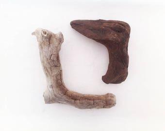 SALE! 2 Driftwood pieces - 90' angle, driftwood sticks, Driftwood sculpture, Driftwood Art, Driftwood Supply, Driftwood Crafts #DW011#