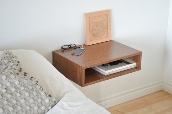 Floating end table nightstand solid walnut bedroom bedside for Bed with floating nightstands