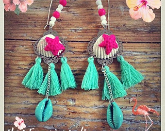"""Pair of earrings is hand """"Shell & crustaceans"""" series, entirely make by hand, signed """"Francines...!"""""""