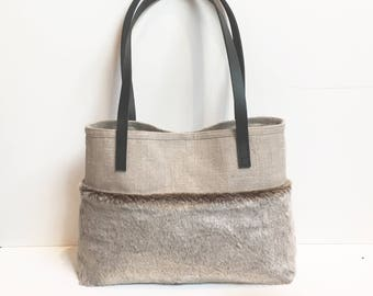 Faux Fur and Natural Linen Handbag leather handles Lisa Steed Davey