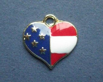 5 American Flag Charms - American Flag Pendants - Flag - Flag Charm - Enamel Charm -  17mm x 17mm  -- (No.133-11151)