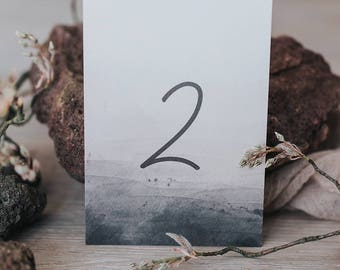 Table number cards with blush and smoke tones
